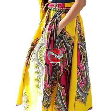 TRADITIONAL PRINT LONG MAXI DASHIKI SKIRT YELLOW