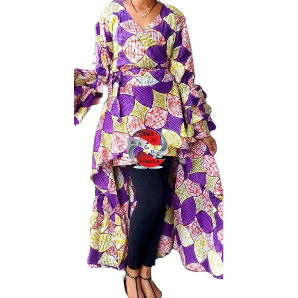 African Print High Low Ruffled Sleeve Purple Print Wrap Blouse Dress