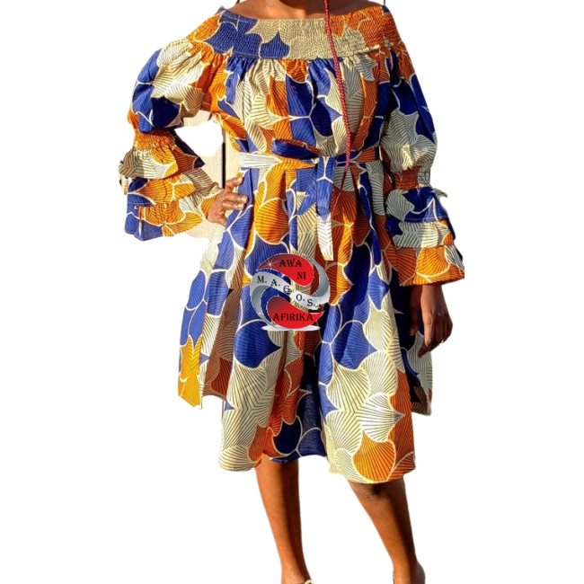 African Blue Orange Print Off Shoulder Dress