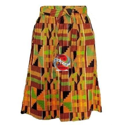 GIRLS AFRICAN PRINT SKIRT AND SCARF SET-KENTE STYLE 2