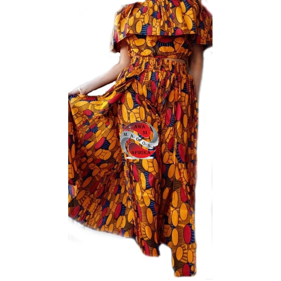 Women's African Orange Print Cape Pant-skirt and Top Set