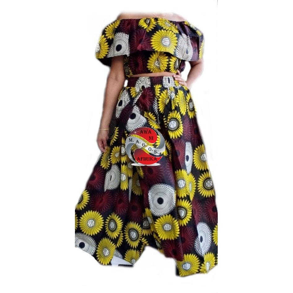 Women's African Yellow-White Print Cape Pant-skirt and Top Set