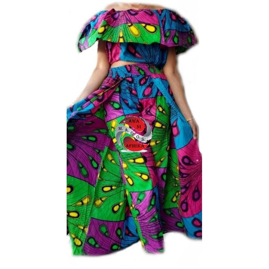 Women's African Multi-Color Tear Drop Print Cape Pant-skirt and Top Set