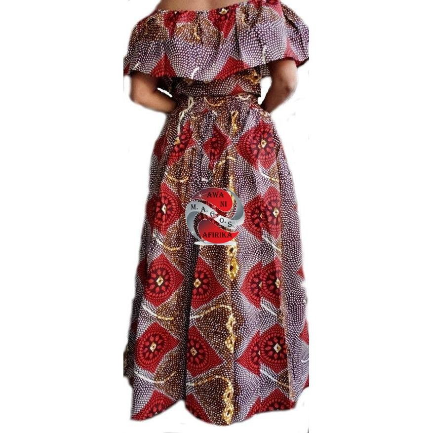 Women's African Red Print Cape Pant-skirt and Top Set