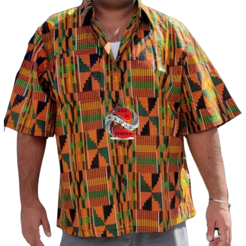 Unisex African Print Kente 2 Button Down Shirt