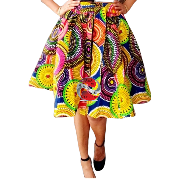African Print Yellow Circles Mid Length Skirt