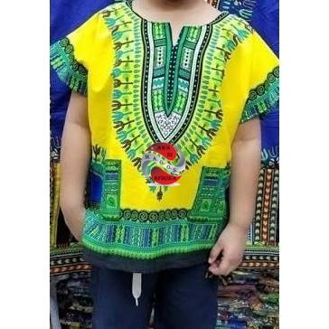 Children's Yellow African Dashiki Print Shirt