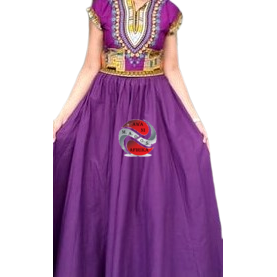 Long Solid Purple Color African Fabric Maxie Skirt