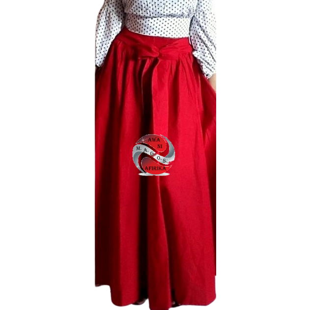 Long Solid Red Color African Fabric Maxie Skirt