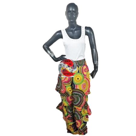 Authentic African Ankara Print Multi Tiered Pant-Circles