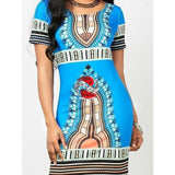 Traditional African Print Dashiki Bodycon Dress - Blue L | M.A.G.O.S. African print off the shoulder top, African print dresses for graduation, African wear for women