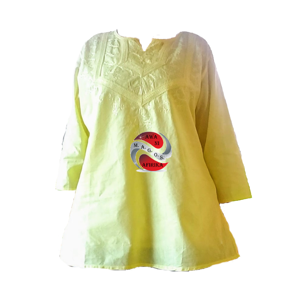 LADIES COTTON EMBROIDERY BLOUSE YELLOW