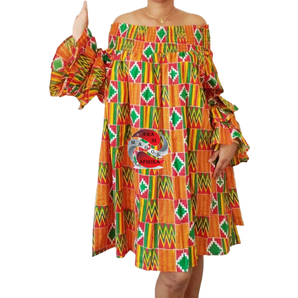 Classy African Print Layered Ruffles Orange Green Kente Dress