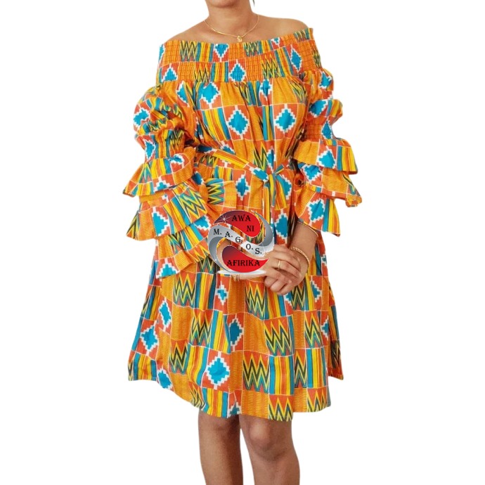 Classy African Print Layered Ruffles Orange Blue Kente Dress