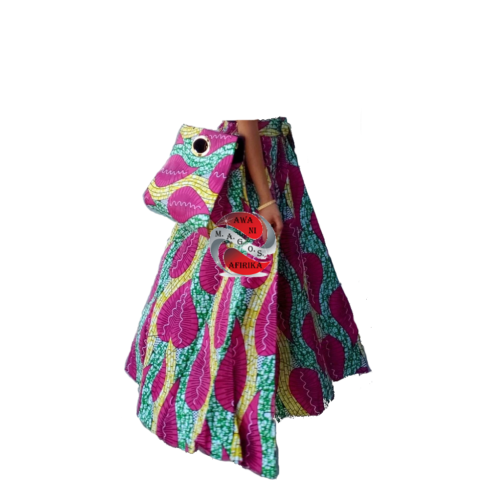 Women's African Purple Print Skirt and Bag Set