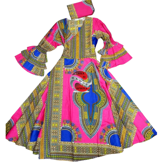 AFRICAN PINK PRINT WAX WRAP DRESS