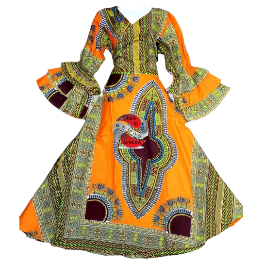 AFRICAN ORANGE PRINT WAX WRAP DRESS