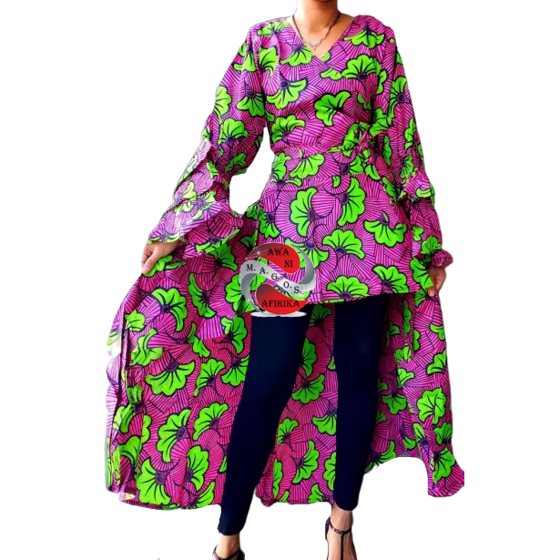 African Print High Low Ruffled Sleeve Pink Green Wrap Blouse Dress