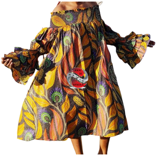 African Leafy Print Off Shoulder Dress
