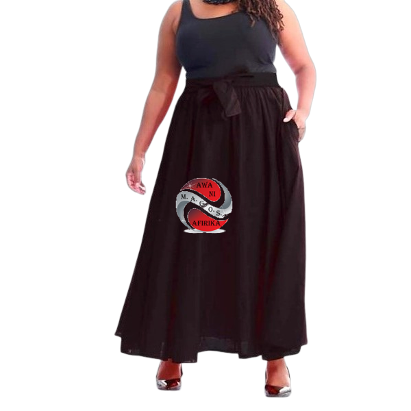 Long Solid Color Black African Fabric Maxie Skirt