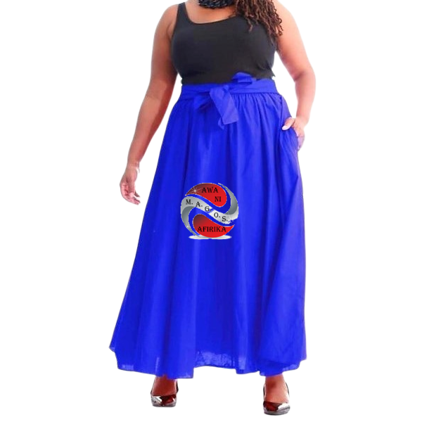 Long Solid Color Blue African Fabric Maxie Skirt