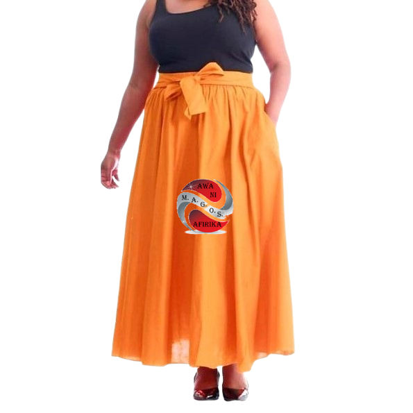 Long Solid Orange Color African Fabric Maxie Skirt