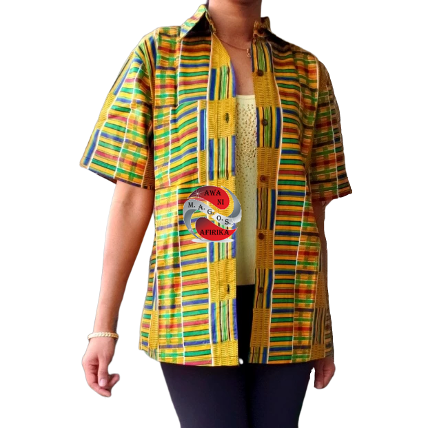 Unisex African Print Green Kente Button Down Shirt