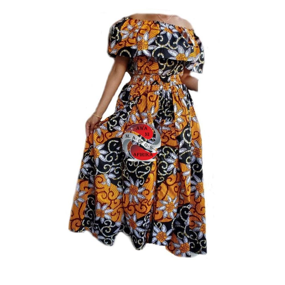 Women's African Orange-Black Print Cape Pant-skirt and Top Set