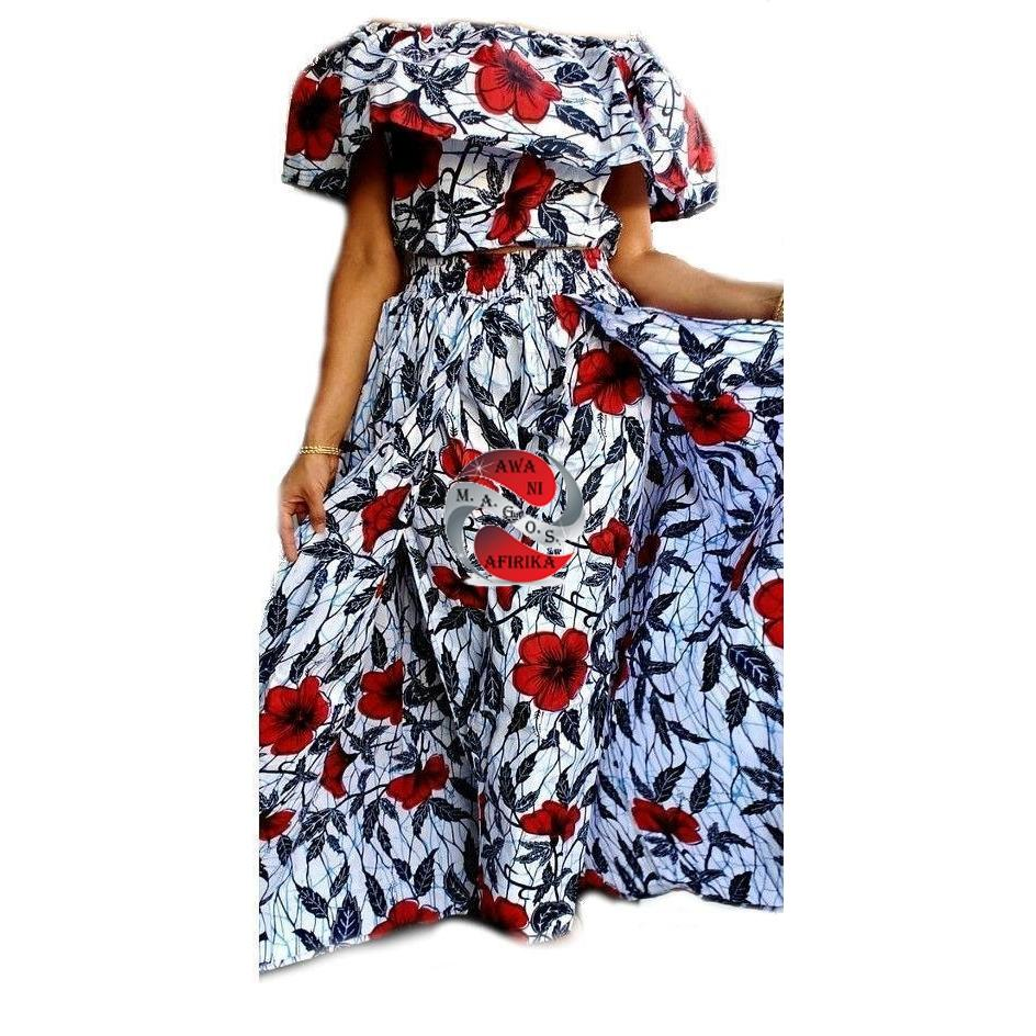 Women's African Red Floral Print Cape Pant-skirt and Top Set