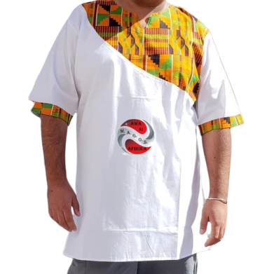 Kente Print White Dashiki Shirt