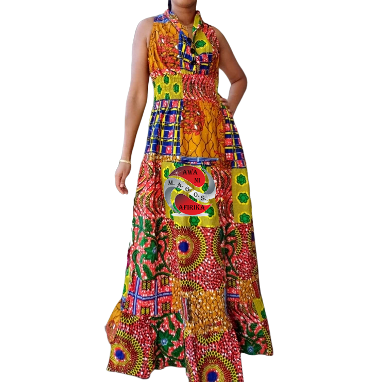 African Print Long Smocked Halter Dress