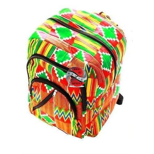 African Kente Print Large Back Pack-Red/Yellow/Green