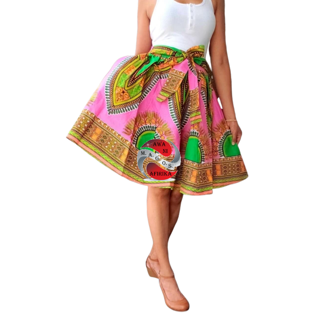 Short Traditional Print Pink Dashiki Skirt