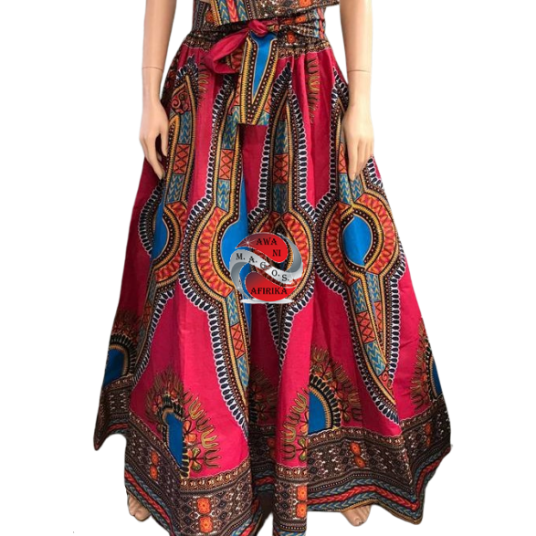 TRADITIONAL PRINT LONG MAXI DASHIKI SKIRT FUCHSIA