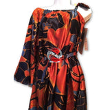 Red/Navy One Shoulder Strap Dress - | M.A.G.O.S. African print pants for ladies, African print shirts for ladies, African print mermaid dress