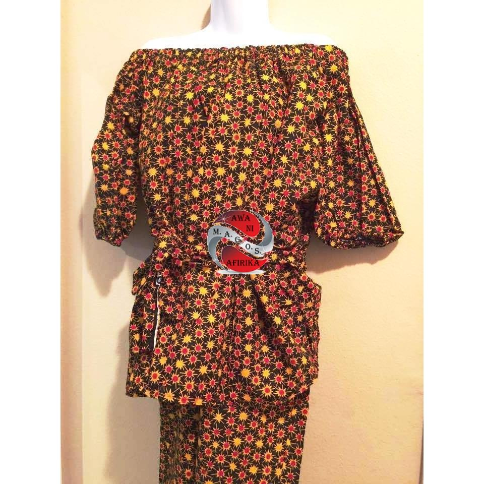 Handmade Authentic 100% Cotton African Fabric Print 2pc Pant Set - M.A.G.O.S.