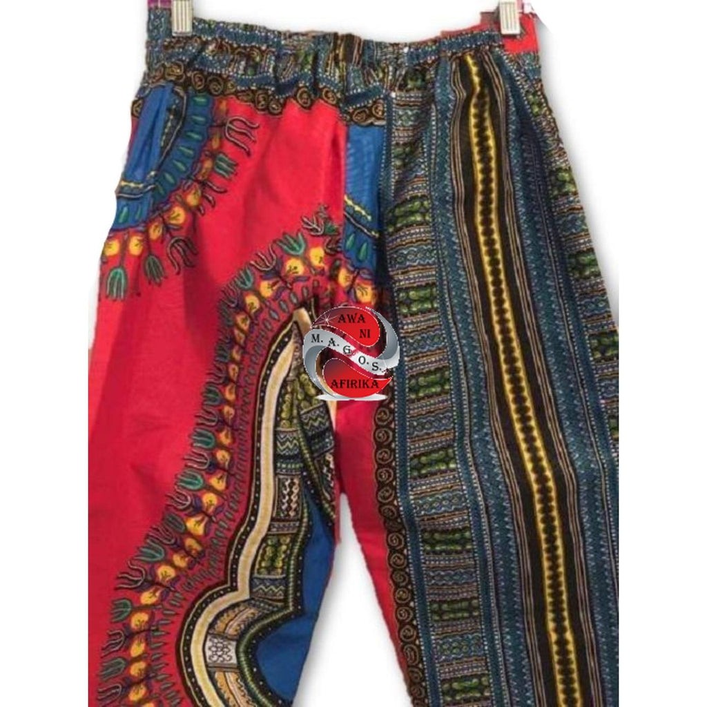 Authentic African Print Combination Pant Set Red/White (One of a kind) One Size - | M.A.G.O.S. African print pants for ladies, African print shirts for ladies, African print mermaid dress