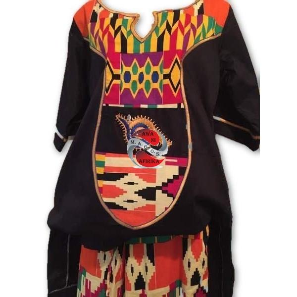 Women's Authentic African Print Combination Pant Set Black (One of a kind) - | M.A.G.O.S. African print off the shoulder top, African print dresses for graduation, African wear for women