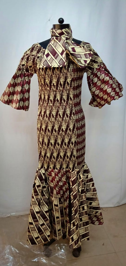 African Print Smocked Dress Style A