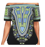 Women's Off The Shoulder Loose Dashiki Print Top - | M.A.G.O.S. African print off the shoulder top, African print dresses for graduation, African wear for women