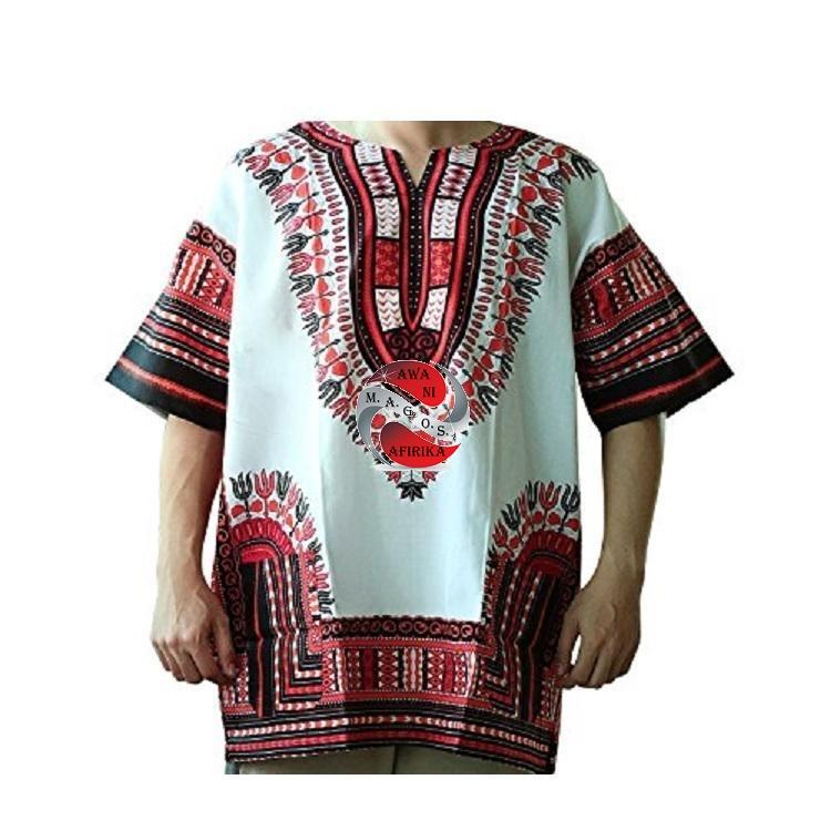 Red & White African Dashiki Shirt (X-Large) - | M.A.G.O.S. African print off the shoulder top, African print dresses for graduation, African wear for women