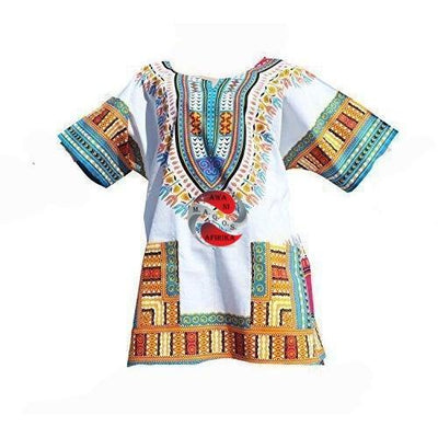 Unisex White Sky Blue Dashiki X-Small
