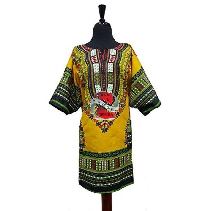 Yellow Dashiki Tunic - | M.A.G.O.S. African print off the shoulder top, African print dresses for graduation, African wear for women