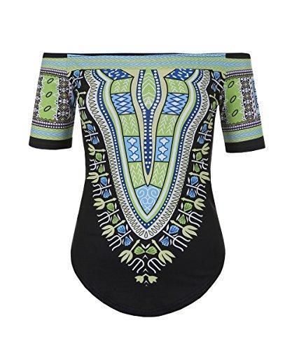 Women's Off The Shoulder Loose Dashiki Print Top - | M.A.G.O.S. African print pants for ladies, African print shirts for ladies, African print mermaid dress