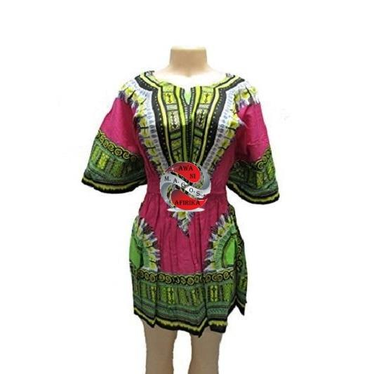 Women's Pink Traditional Dashiki Print Elastic Waist Dress Shirt - | M.A.G.O.S. African print off the shoulder top, African print dresses for graduation, African wear for women