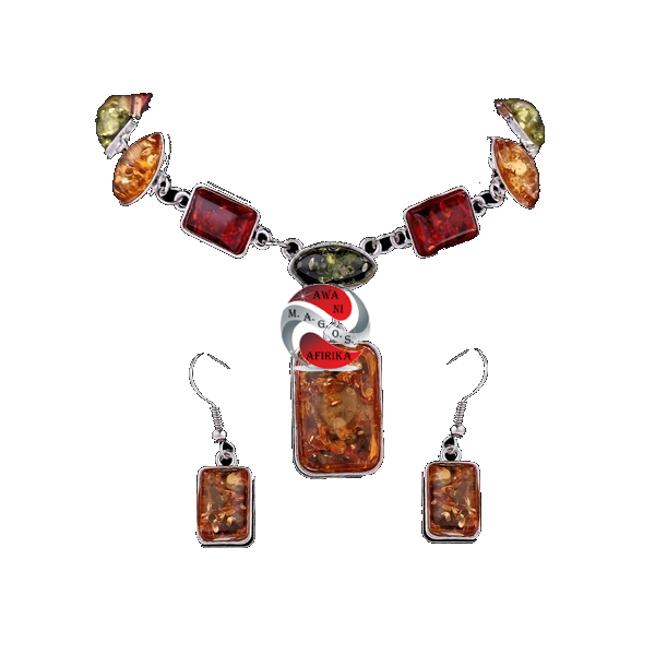 African Sterling Silver Square Amber Necklace Set