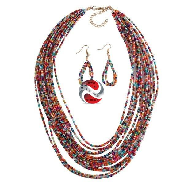 Handmade Multi-Layered African Seed-bead Necklace Set