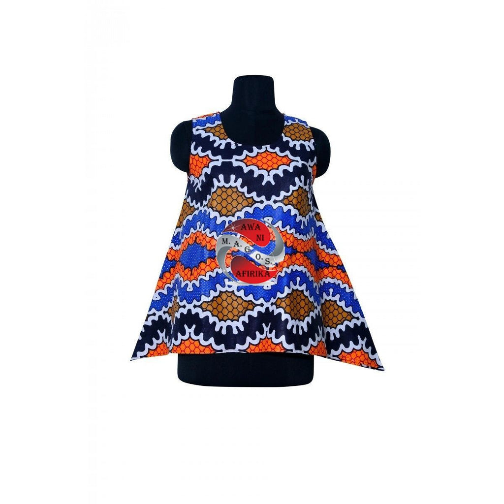 AFRICAN WAX PRINT SLEEVELESS TOP