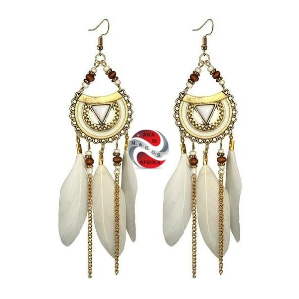 White Feathered Earrings