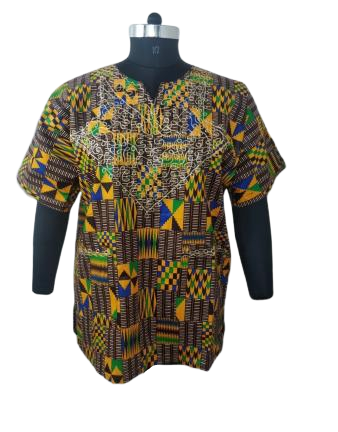 Men's Authentic African Print Kente Dashiki Shirt